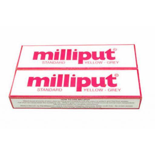 2 x Tubes Milliput Epoxy Putty Yellow/Grey Standard