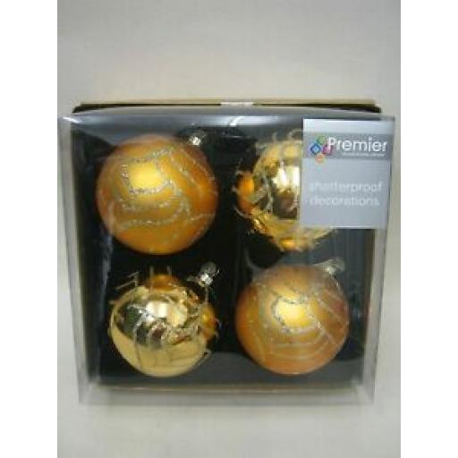 Premier Deluxe Glitter Baubles 80mm Gold Pk 4 TD155908G