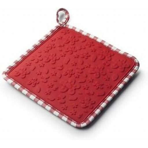 Zeal Heat Resistant Silicone Hot Grab Mat Square Trivet V107 Red Gingham 20cm