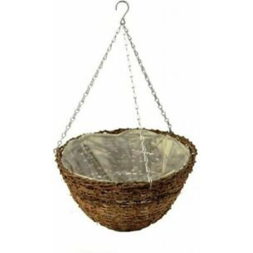 "Ambassador Rattan Hanging Basket With Chain 12"" 30cm ARHB12"