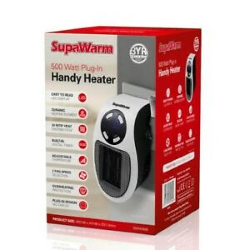 Supawarm Plug In Heater 500w Built In Digital Timer SWHH500