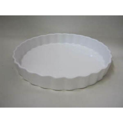 Wm Bartleet Fluted Crinkle Edge Flan Dish White Porcelain T164 24cm