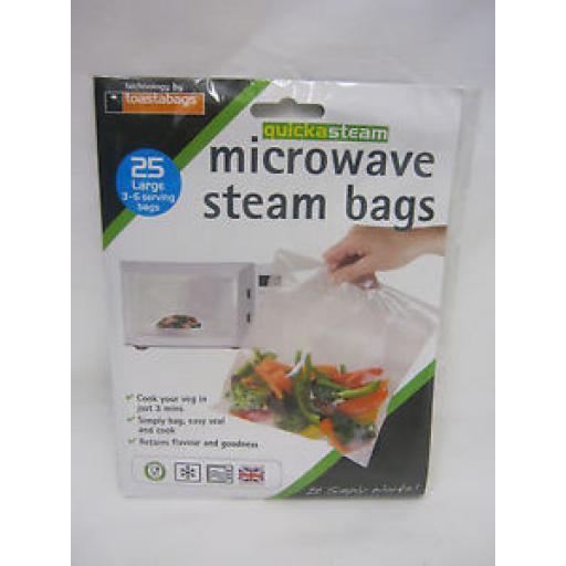 Quicksteam Microwave Vegetable Steamer Steam Bags Large Pk 25