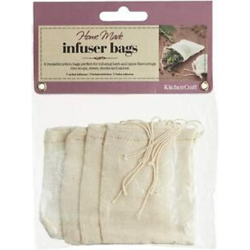 Kitchencraft Home Made Infuser Spice Bags Pk 4 Reusable Cotton KCSPBAGS