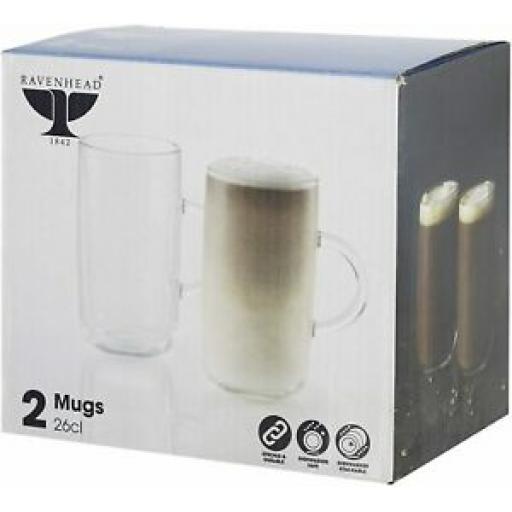 Ravenhead Entertain Set Of Glass Mugs Coffee Latte Glasses 26CL Pk2