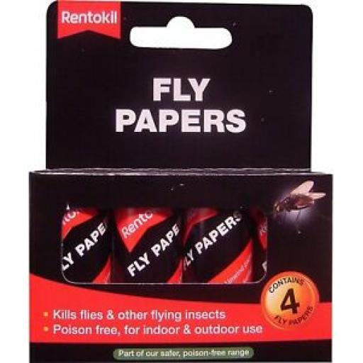 Rentokil Fly Papers Pack 4 Indoor Outdoor Use FF40