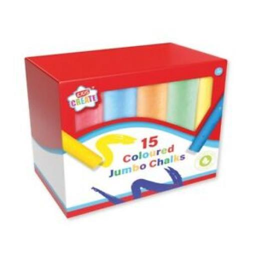 Kids Create Anker Jumbo Assorted Coloured Chalks Pk 15