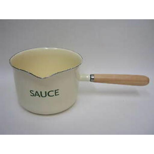 Victor Cream Enamel Sauce Maker Pan With Green Trim Wooden Handle EN055C