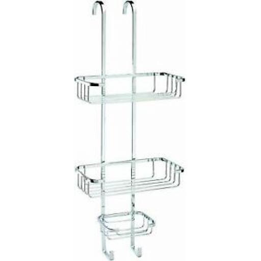 Croydex Shower Bathroom Hook Over 3 Tier Basket Chrome Plated Rust Free QM264341