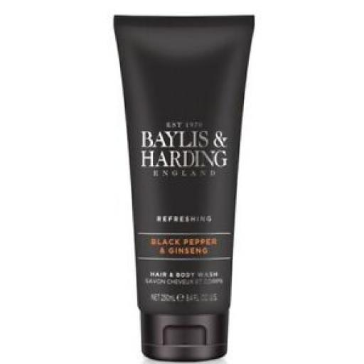Baylis And Harding Men's Black Pepper & Ginseng Hair And Body Wash 250ml