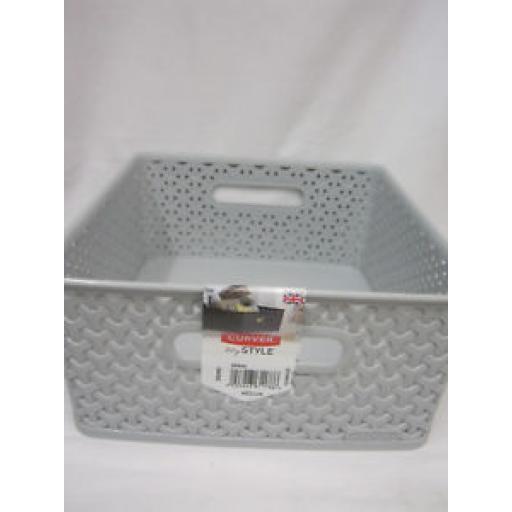 Curver My Style Storage Basket Handle Plastic Medium 232282 Grey 13 Litre