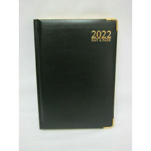 Tallon Day A Page Diary A5 2022 Padded Back Black Gilded Edge