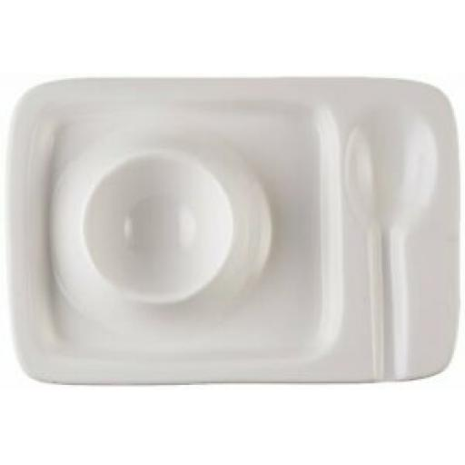 Wm Bartleet White Porcelain Egg Plate With Groove For Spoon T258
