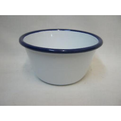 Falcon White Enamel Pudding Basin Bowl With Blue Trim 10cm Small