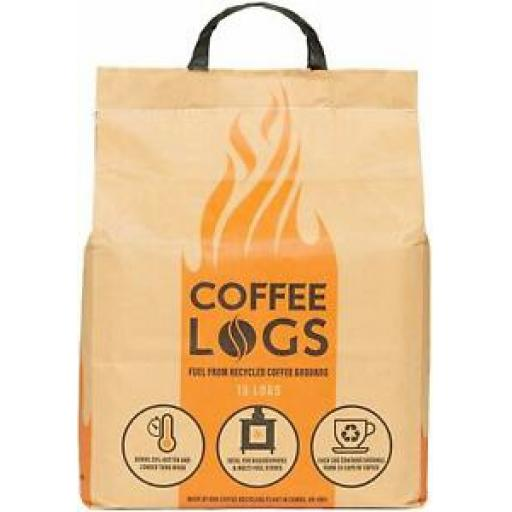 Bio-Bean Heat Logs Made from Recycled Coffee Grounds Pk16 Eco Briquettes