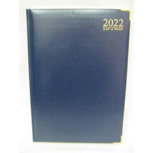 Tallon Day A Page Diary A4 2022 Padded Back Gilded Edge Blue