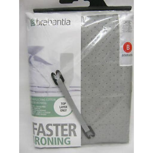 Brabantia Metallised Metal Silver Ironing Board Cover B 124cm x 38cm