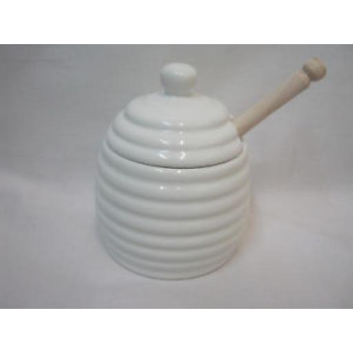 Wm Bartleet Honey Pot With Wooden Dipper Beehive Ceramic Jar T260 White