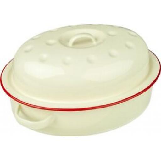 "Falcon Enamel Oval Roaster Roasting Dish Casserole 26cm 10 1/4"" Cream Red Trim"