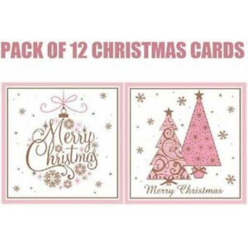 Eurowrap Luxury Christmas Cards Pink Trees Pk 12