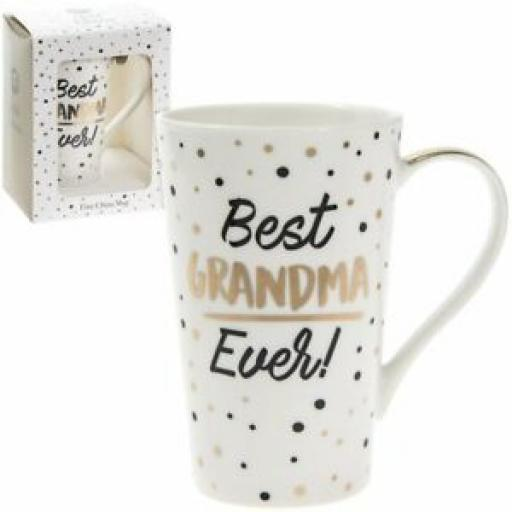 Lesser And Pavey Fine China Mug Beaker Coffee latte Best Grandma Ever Polka Dot