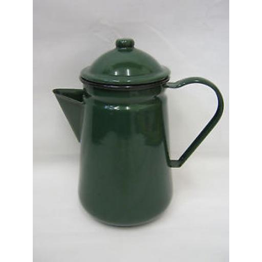 Falcon Enamel 13cm 1.25ltr Coffee Pot Camping Green