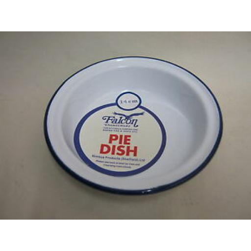 Falcon Enamel Round White Blue Trim Pie Baking Dish Tin 14cm