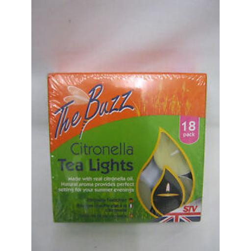 STV The Buzz Citronella Tealights Candles Fragranced Tea Lights Pk 18 STV423