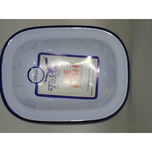 Falcon White Enamel Oblong Pie Baking Dish Tin 18cm