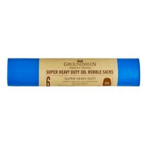 Groundsman Super Heavy Duty 30 Litre Rubble Sacks Bags Pk 6 Blue 344366 2 PKS