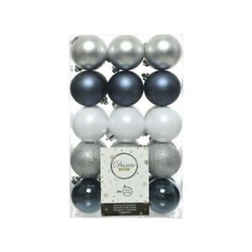 Decoris Kaemingk Baubles 60mm Assorted Silver White Blue Pk30 9020124