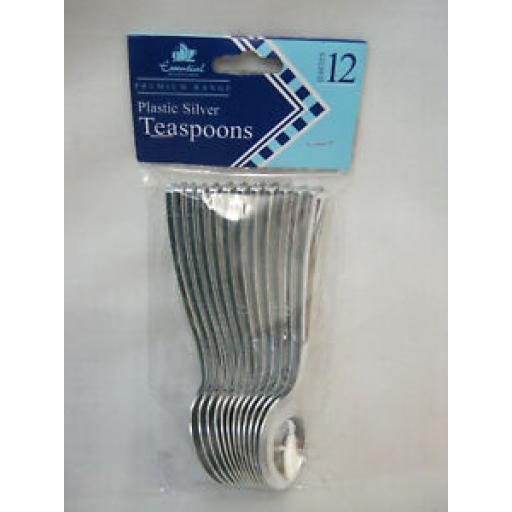 Essential Housewares Metalised Plastic Silver Tea Coffee Spoons Cutlery Pk12
