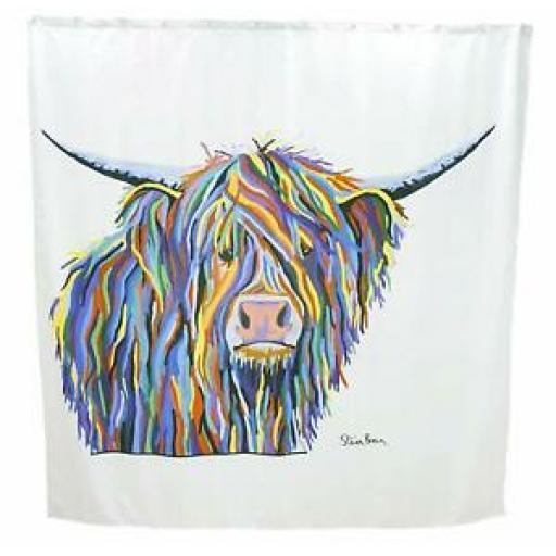 Croydex Textile Bath Shower Curtain Angus McCoo Animal 180cm x 180cm