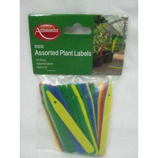 "Ambassador Plastic Plant Labels Assorted Colours 4"" Pk 50 SGS12"
