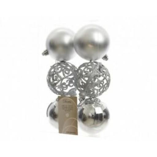 Decoris Kaemingk Baubles Pk6 Silver Multi Finish Glitter Lattice 80mm