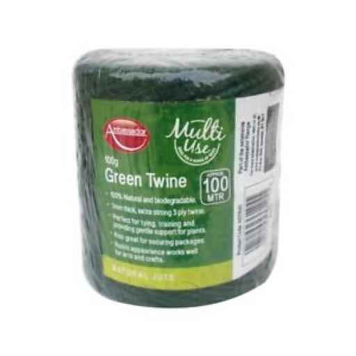 Ambassador Multi Use 3 Ply Green Twine String 100% Natural 100G/100M ASTR45
