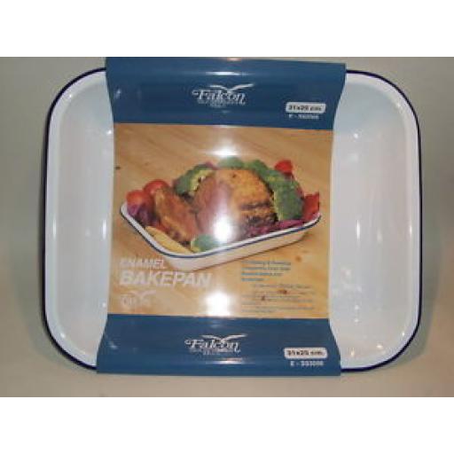 Falcon White Enamel Bakepan Roasting Dish Bake Pan 31cm X 25cm