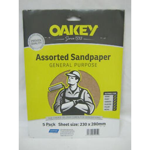 Oakey General Purpose Sandpaper Assorted Pk 5 230mm x 280mm