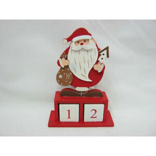 Red Santa Wooden Advent Calendar Countdown Christmas Decoration Figure