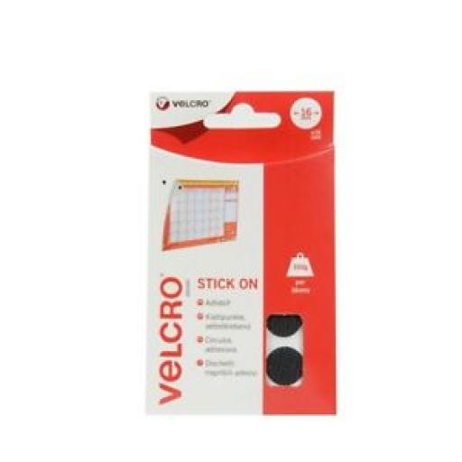 Velcro Stick On Black Coins 16mm x 16 Sets 60228