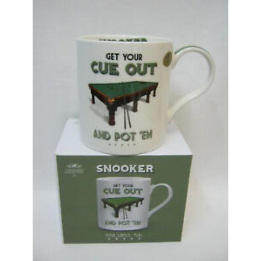 Lesser And Pavey Mug Beaker Coffee Tea Cup Snooker Get Your Cue Out LP94100
