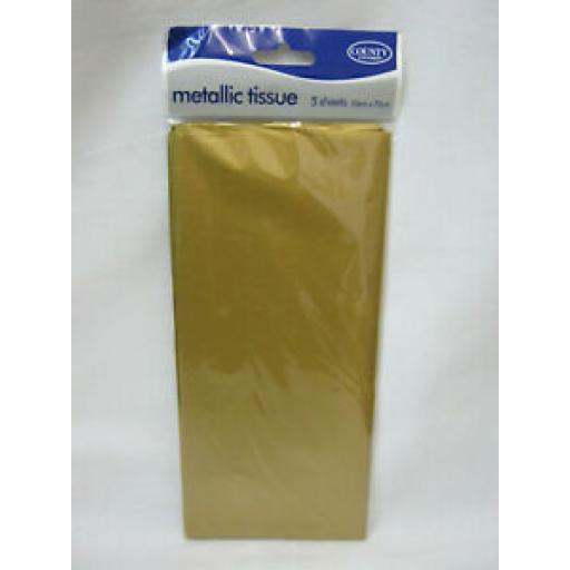 Tissue Paper Metallic Gold Metallic Pk 5 Sheets 50cm x 75cm
