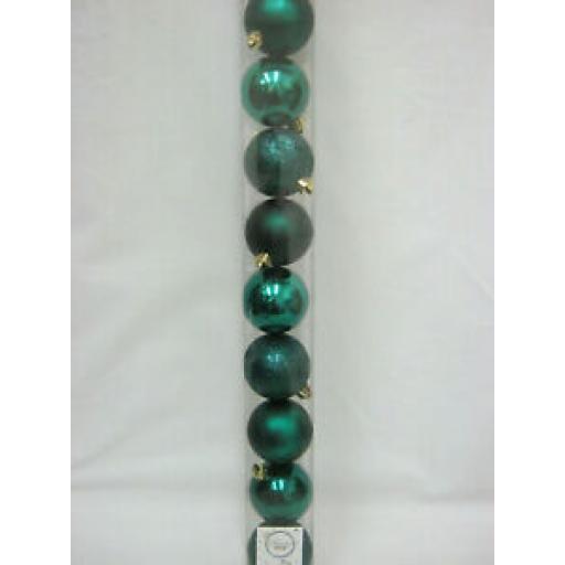 Decoris Kaemingk Assorted Baubles 60mm Emerald Green Pk10
