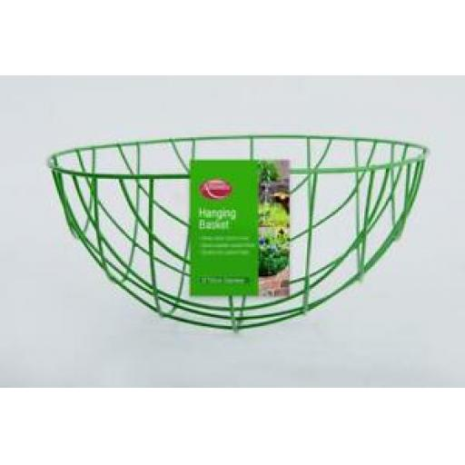 """Ambassador Wire Green Hanging Basket With Chain 16"""" 40cm SHB16"""