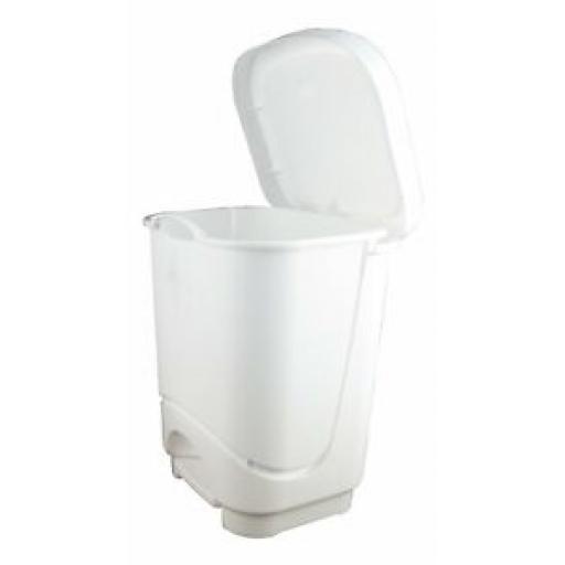 Tontarelli Small Waste Pedal Bin Bathroon Kitchen White Plastic 8Ltr