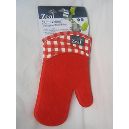Zeal Traditional Single Oven Mitt Glove Silicone Waterproof Red V104
