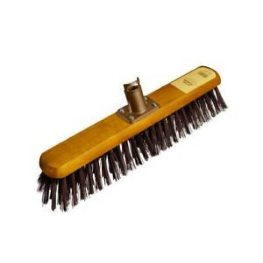 """Groundsman Wood backed Broom Head Only With Stiff PVC Bristles 18"""" PA92818"""