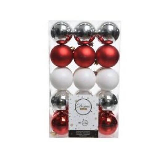 Decoris Kaemingk Baubles 60mm Assorted Silver Red White Pk30 9020070