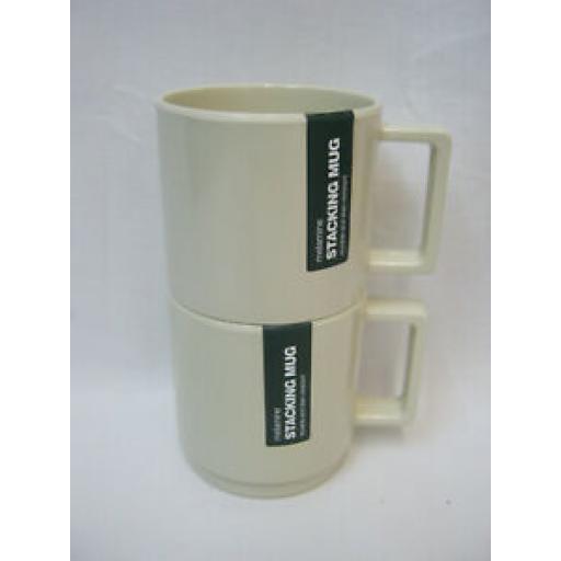 Zeal Melamine Travel Camping Stacking Beaker Mug G259 Cream Pk 2