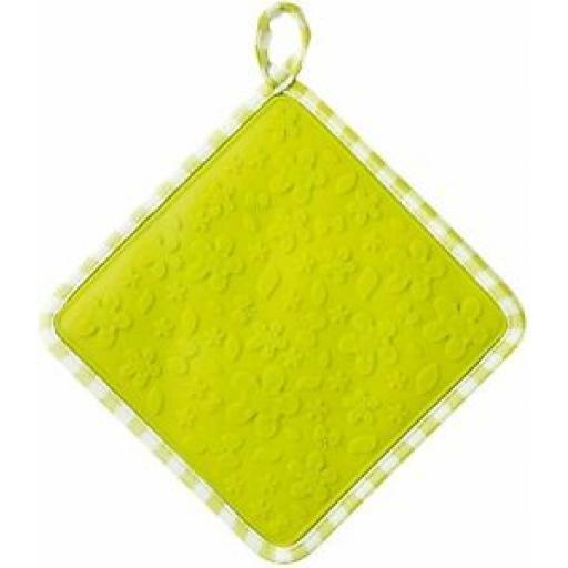 Zeal Heat Resistant Silicone Hot Grab Mat Square Trivet V107 Lime Gingham 20cm